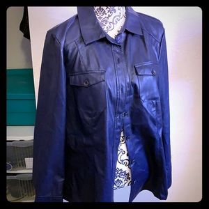 NWOT D&Co faux leather button down never worn